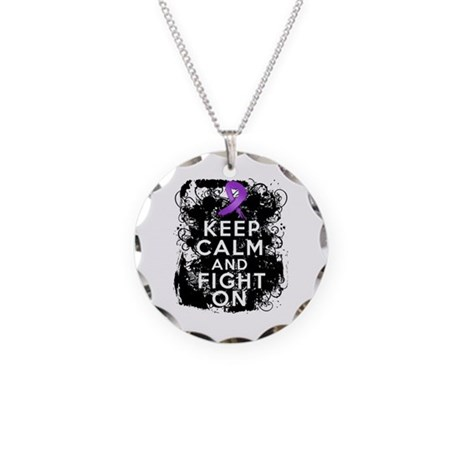 GIST Cancer Keep Calm Fight On Necklace Circle Cha