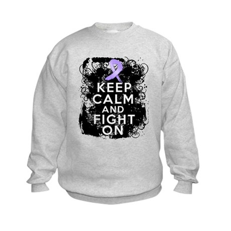 General Cancer Keep Calm Fight On Kids Sweatshirt