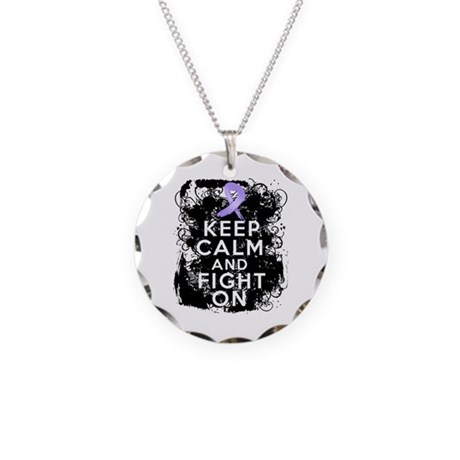 General Cancer Keep Calm Fight On Necklace Circle
