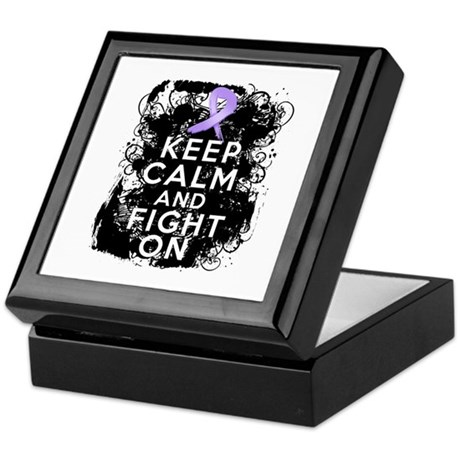 General Cancer Keep Calm Fight On Keepsake Box