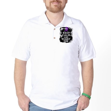 Fibromyalgia Keep Calm Fight On Golf Shirt