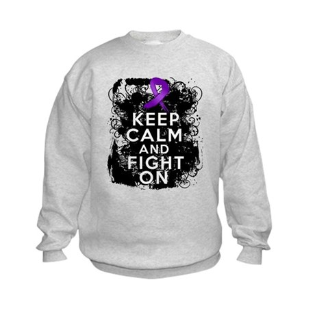 Fibromyalgia Keep Calm Fight On Kids Sweatshirt