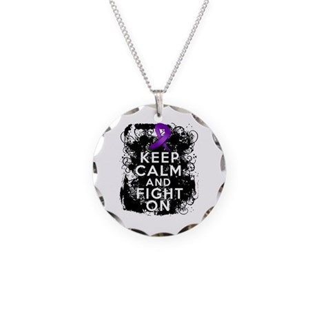 Fibromyalgia Keep Calm Fight On Necklace Circle Ch