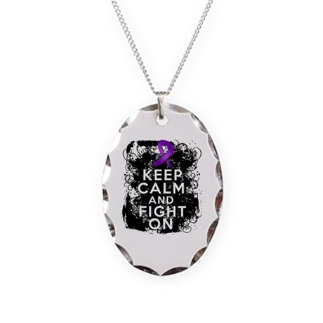 Fibromyalgia Keep Calm Fight On Necklace Oval Char