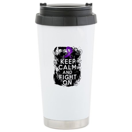 Fibromyalgia Keep Calm Fight On Ceramic Travel Mug