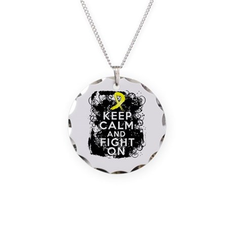 Ewings Sarcoma Keep Calm Fight On Necklace Circle