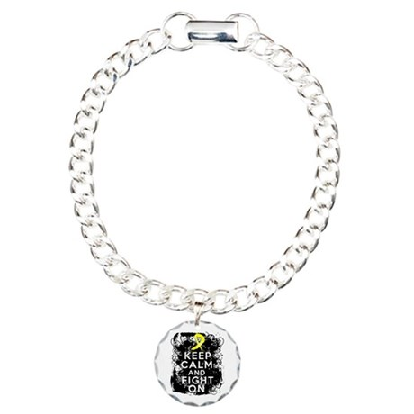 Ewings Sarcoma Keep Calm Fight On Charm Bracelet,