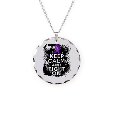 Epilepsy Keep Calm Fight On Necklace Circle Charm