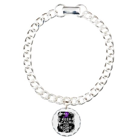 Epilepsy Keep Calm Fight On Charm Bracelet, One Ch