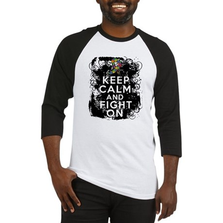 Autism Keep Calm Fight On Baseball Jersey