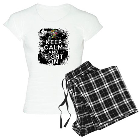 Autism Keep Calm Fight On Women's Light Pajamas