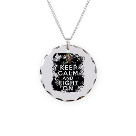 Autism Keep Calm Fight On Necklace Circle Charm