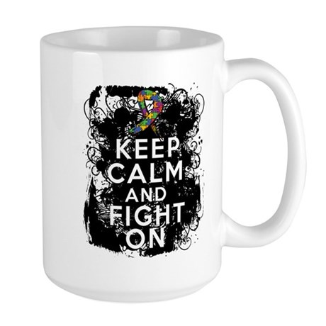 Autism Keep Calm Fight On Large Mug