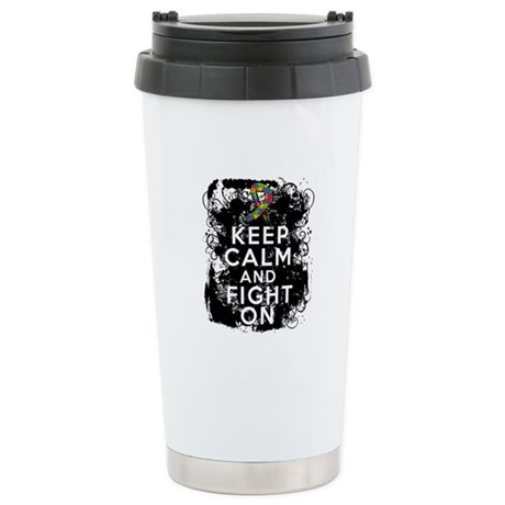 Autism Keep Calm Fight On Ceramic Travel Mug