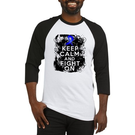 Colon Cancer Keep Calm Fight On Baseball Jersey