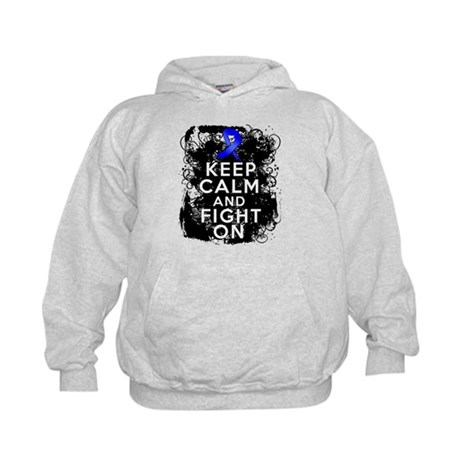 Colon Cancer Keep Calm Fight On Kids Hoodie