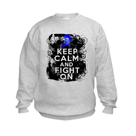 Colon Cancer Keep Calm Fight On Kids Sweatshirt