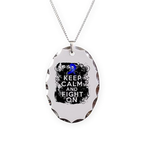 Colon Cancer Keep Calm Fight On Necklace Oval Char