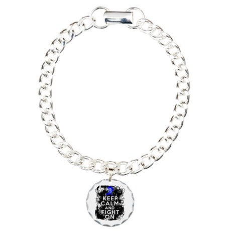 Colon Cancer Keep Calm Fight On Charm Bracelet, On