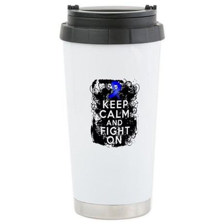 Colon Cancer Keep Calm Fight On Ceramic Travel Mug