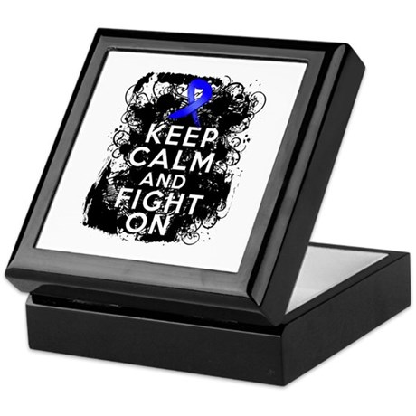 Colon Cancer Keep Calm Fight On Keepsake Box