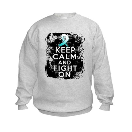 Cervical Cancer Keep Calm Fight On Kids Sweatshirt