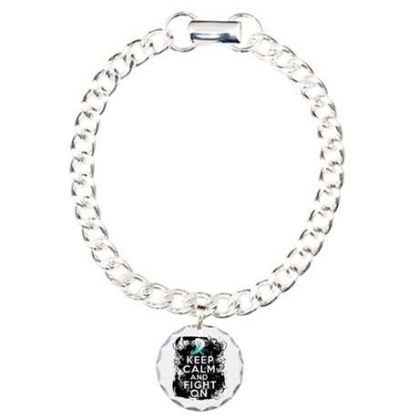 Cervical Cancer Keep Calm Fight On Charm Bracelet,