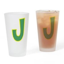 Initial J with Blue/Green Stripes Drinking Glass