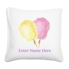 Personalized Cotton Candy Square Canvas Pillow