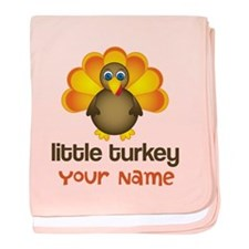 Personalized Little Turkey baby blanket