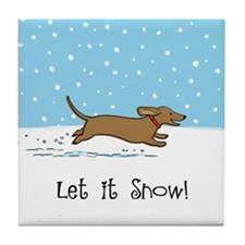 Dachshund Let it Snow Tile Coaster