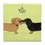 Dachshund Christmas Kiss Tile Coaster