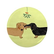 "Dachshund Christmas Kiss 3.5"" Button (100 pack)"