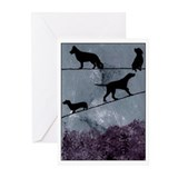 Dogs on a Wire Greeting Cards (Pk of 10)