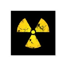 "Distressed Radiation Symbol Square Sticker 3"" x 3"""