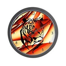 Orange Tribal Wild Animal Wall Clock
