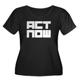 Act now Women's Plus Size Scoop Neck Dark T-Shirt