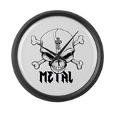 Metal Skull Large Wall Clock