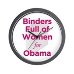 Binders Full of Women for Obama Wall Clock