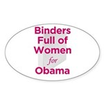 Binders Full of Women for Obama Sticker (Oval 10 p