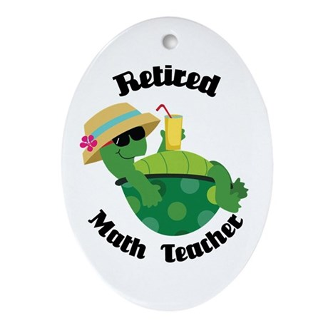 Retired Math Teacher Gift Ornament (Oval)