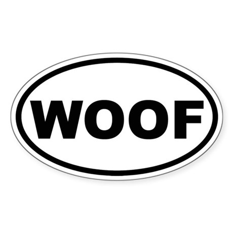 Woof Oval Sticker