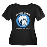Space Jump Women's Plus Size Scoop Neck Dark T-Shi