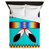 NATIVE AMERICAN BEADED STRIP Queen Duvet