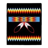 NATIVE AMERICAN BEADED STRIP Throw Blanket