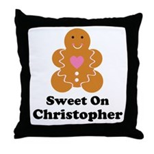 Personalized Christmas Couples Throw Pillow