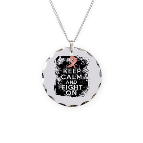 Endometrial Cancer Keep Calm Fight On Necklace Cir