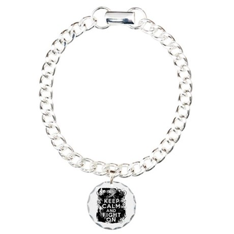 Diabetes Keep Calm Fight On Charm Bracelet, One Ch