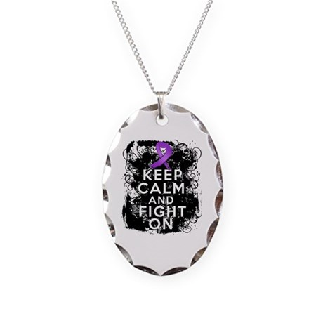 Cystic Fibrosis Keep Calm Fight On Necklace Oval C