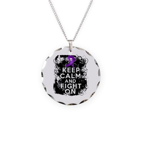 Crohns Disease Keep Calm Fight On Necklace Circle